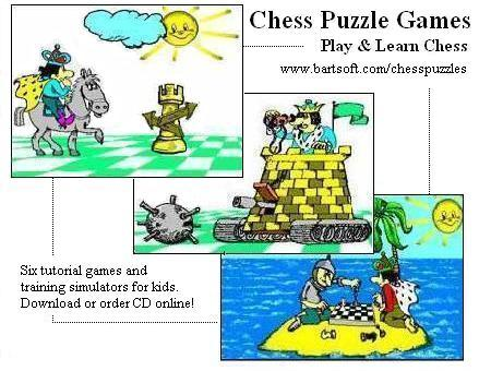 Collection of 6 chess tutorial games and puzzles for kids. Play, train, learn!